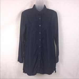 FOREVER 21 Dark Denim Button Front Shirt Dress Med